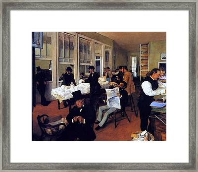 A Cotton Office In New Orleans Framed Print by Edgar Degas