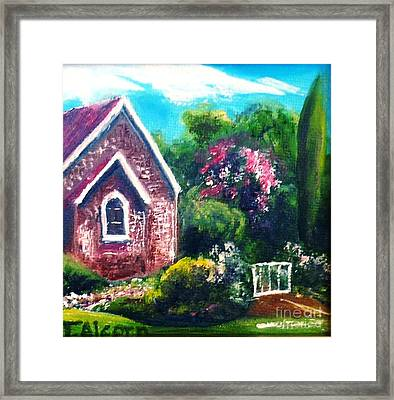 Framed Print featuring the painting A Country Church - Original Sold by Therese Alcorn