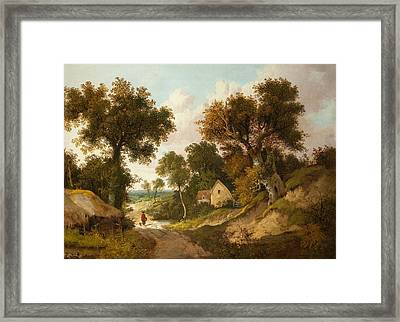 A Country Lane In Norfolk, 1878 Framed Print