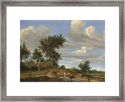 A Country Road Framed Print by Salomon van Ruysdael