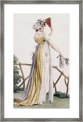 A Country Style Ladies Dress Framed Print by Pierre de La Mesangere