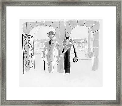 A Couple At The Ritz Hotel Framed Print by Oberle