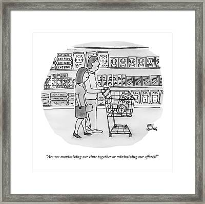 A Couple Buys Groceries Together Framed Print