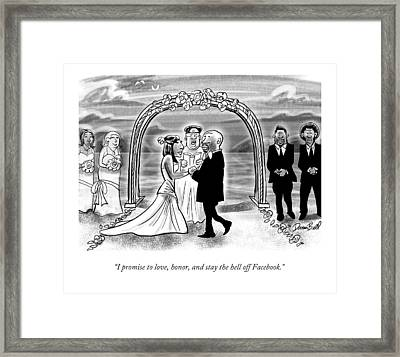 A Couple Getting Married Framed Print by Darrin Bell