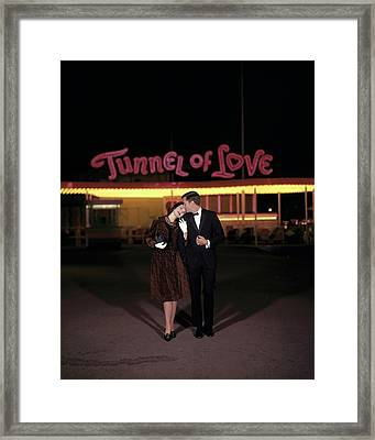 A Couple In Front Of A Tunnel Of Love Framed Print