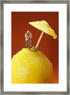 Framed Print featuring the painting A Couple In Lemon Rain Little People On Food by Paul Ge