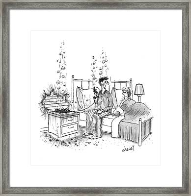 A Couple Is In Bed. The Husband Framed Print by Tom Cheney