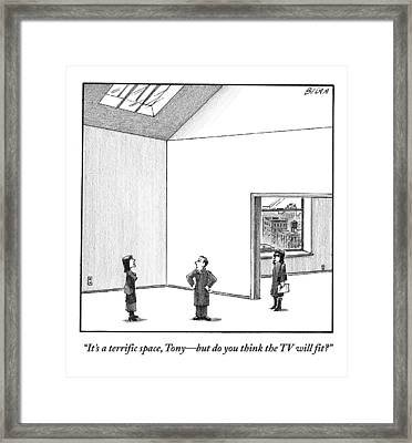 A Couple Looks At A Huge Apartment With A Real Framed Print