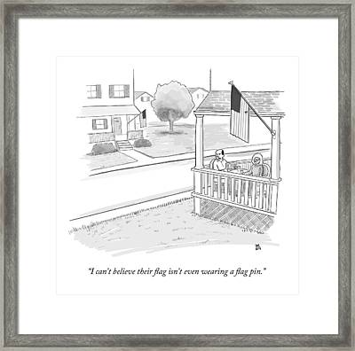 A Couple On A Porch Looking Over At A House Framed Print by Paul Noth