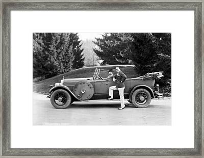 A Couple Poses By Their Car Framed Print by Underwood Archives