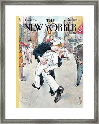 A Couple Reenacts A Famous World War II Kiss Framed Print by Barry Blitt