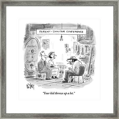 A Couple Sits In Chairs Across From A School's Framed Print