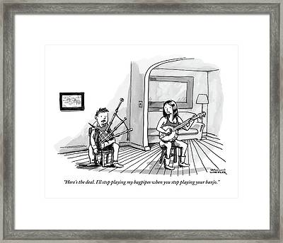A Couple Sits In The Living Room Testing Who Framed Print