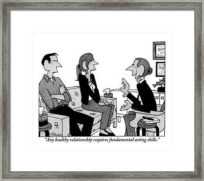A Couple Sits On A Couch Across From Counselor Framed Print