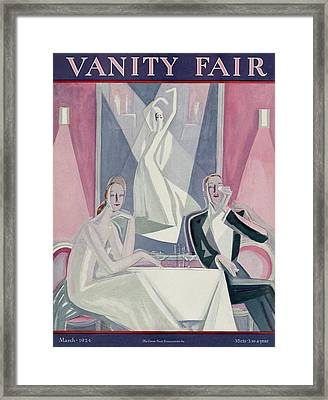 A Couple Sitting At A Table Framed Print