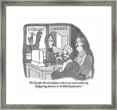 A Couple Speaks To A Travel Agent Framed Print