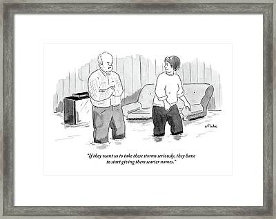 A Couple Stand And Talk In Their Flooded Living Framed Print by Emily Flake