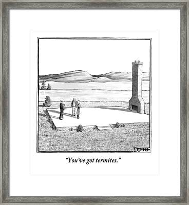 A Couple Stand In An Empty House Frame Framed Print by Matthew Diffee