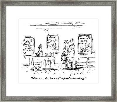 A Couple Stands Before The Desk At A Travel Framed Print