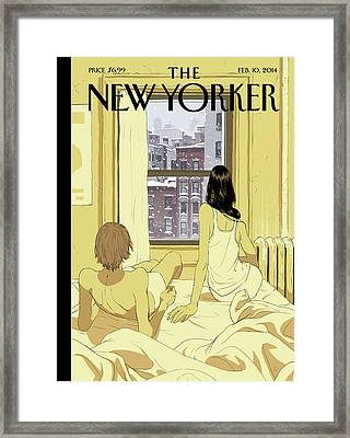 A Couple Stays In Bed While It Snows In The City Framed Print