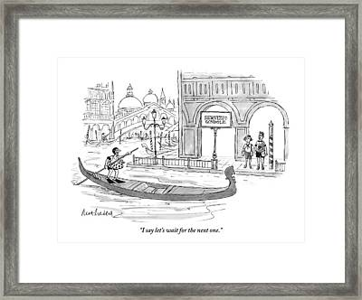A Couple Waits Beside A Canal In Venice Framed Print