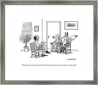 A Couples Therapist Speaks To A Fox And A Dog Framed Print