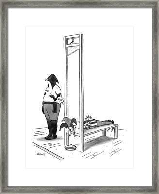 A Court Jester Is Awaiting The Guillotine Framed Print