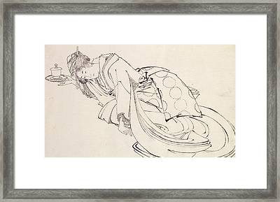 A Courtesan Offering A Cup Framed Print by Japanese School