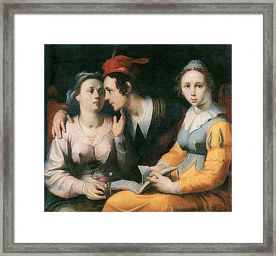 A Courting Couple And A Woman With A Songbook Framed Print by Cornelis Corneliszoon Van Haarlem