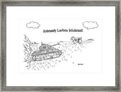 A Cow In A Pasture Watches As A Tank Approaches Framed Print