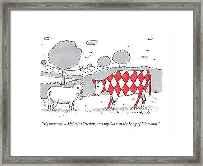 A Cow With A Red Diamond Spots Talks To Another Framed Print by Michael Crawford