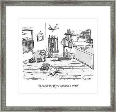 A Cowboy Looks On At A Group Including A Baby Framed Print