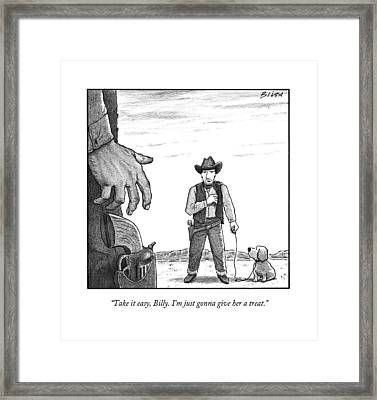 A Cowboy With A Dog Speaks To His Opponent Framed Print