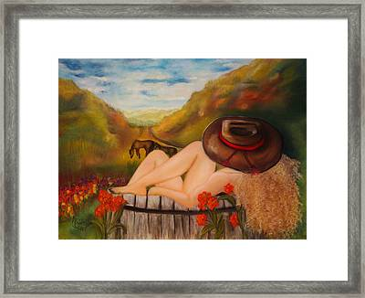 A Cowgirl Bath Framed Print