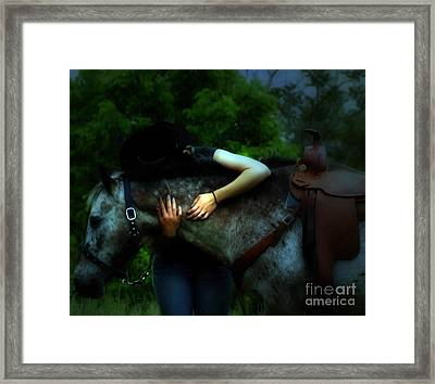 A Cowgirl In Love Framed Print by Steven Digman