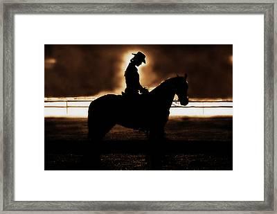 A Cowgirls Prayer Evening Ride Framed Print by Chastity Hoff