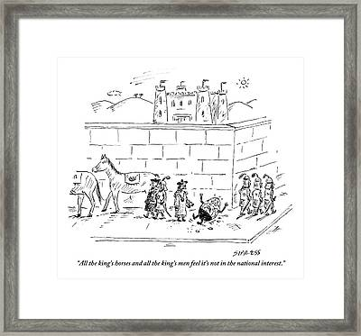 A Cracked And Bewildered Humpty Dumpty Lies Framed Print by David Sipress