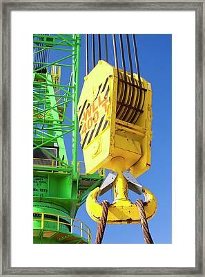A Crane Hook On A 400 Tonne Crane Framed Print by Ashley Cooper