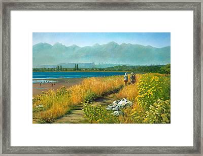 A Crescent Beach Stroll Framed Print by Ewa Pluciennik