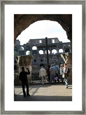 A Cross In The Coloseum Framed Print by Dick Willis