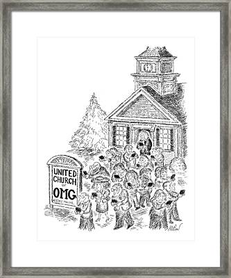 A Crowd Disperses Outside A Church Framed Print