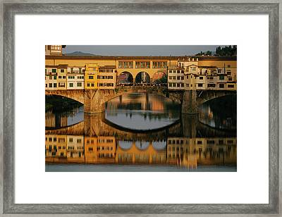 A Crowd Of Tourists On The Ponte Framed Print by Matt Propert