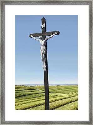 A Crucifix On Farmlandsaskatchewan Framed Print