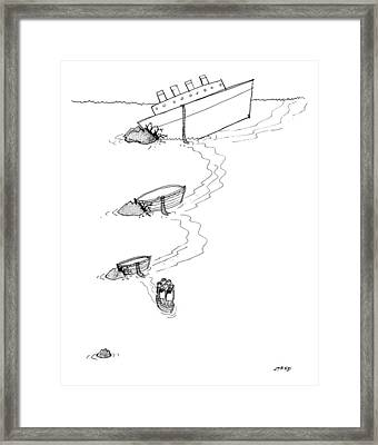 A Cruise Ship Has Crashed Into An Iceburg Framed Print