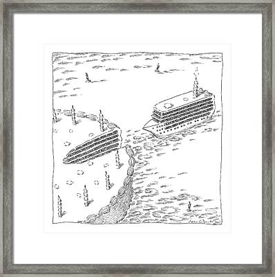 A Cruise Ship Shaped Like A Wedge Of Birthday Framed Print
