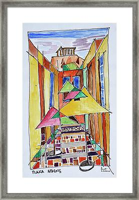 A Cubist Style Watercolor Of The Plaka Framed Print