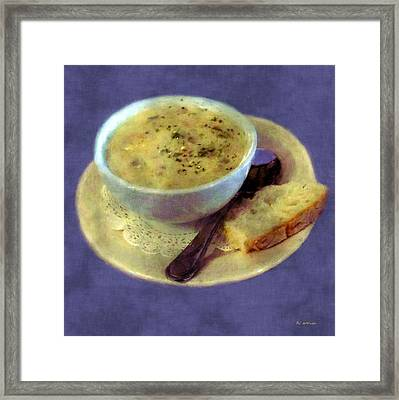 A Cup Of Chowder, A Crust Of Bread Framed Print