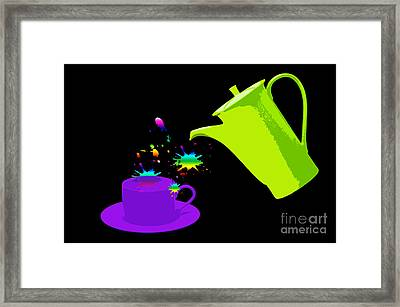 A Cup Of Rainbow Framed Print by Michelle Orai