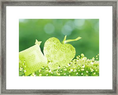 A Cushion And Lonely Heart In The Garden Framed Print by Grace  Olsson