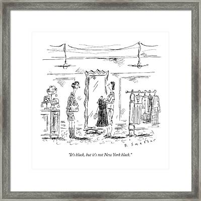 A Customer In A Dress Shop Speaks To A Saleswoman Framed Print